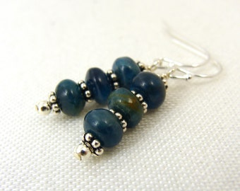 Blue apatite gemstone earrings with sterling silver