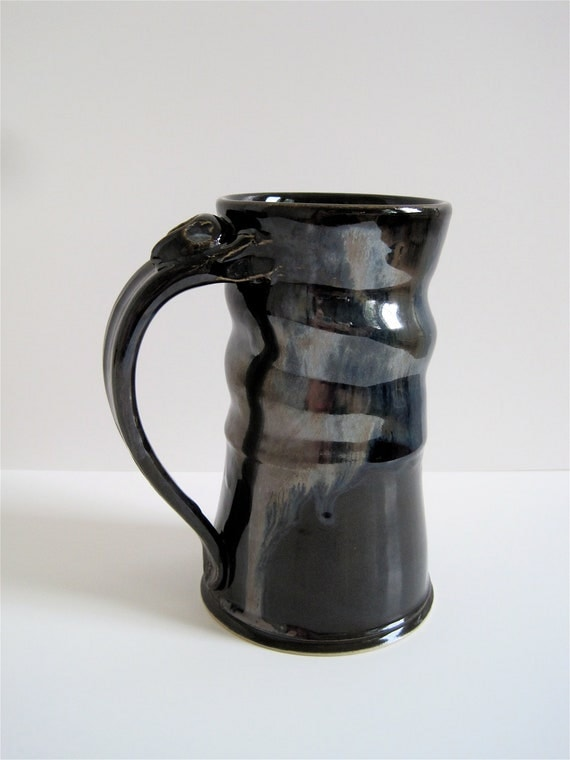 Tall Handmade Stoneware Stein in Metallic Gray with gold and blue variations - Man Mug