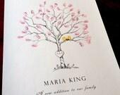 Fingerprint Tree Wedding Guest Book Alternative for Baby, Original Hand-drawn Extra Small Birch Sapling Design (with 2 ink pads)