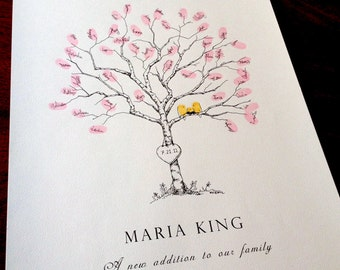 Baby shower Guest Book Alternative, Fingerprint Tree, Small Birch tree, with birds, like wedding tree, thumbprint tree