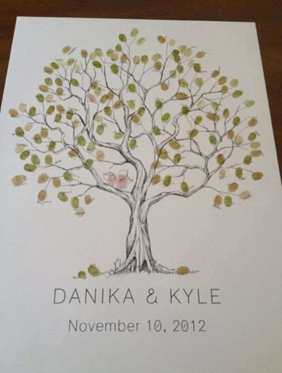RESERVED (for aliceandlilly) Guest book fingerprint tree, SMALL olive tree drawing with 3 ink pads)