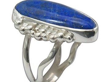 Lapis Lazuli and Sterling Silver Ring, size 6  r6labf2152