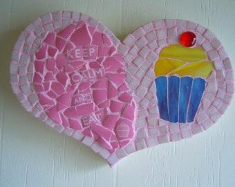 Keep Calm and Eat Cupcakes, mosaic wall hanging