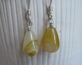 Amber Yellow Botswana Agate Drop Earrings