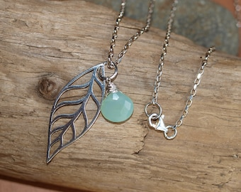 Long Sterling Silver Leaf and Chalcedony Necklace