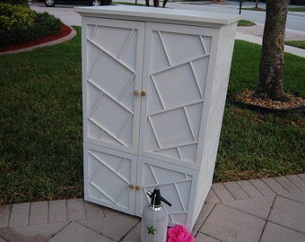 FRETWORK CABINET Bar Armoire Cupboard 42 Inches gpx FREE Shipping Included Fretwork at Retro Daisy Girl