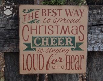 Primitive, Folk Art , Christmas Cheer wall sign