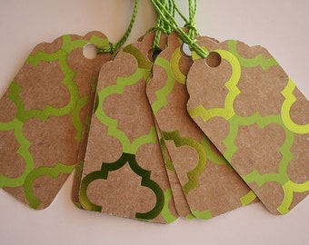 Foiled Green Lattice Gift Tags (10)