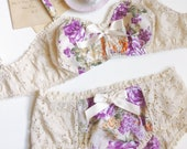 Slumber Party Floral Cotton & Lace Soft Bra and Panties Set Made to Order