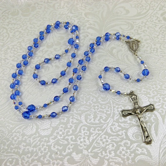 Blue Sapphire Crystal Rosary, Sterling Silver Rosary, Swarovski Crystal Rosary