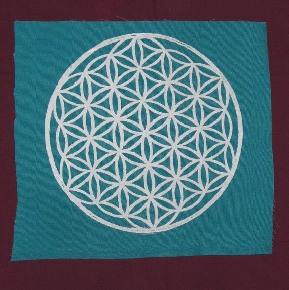 Large  - Flower of Life Back Patch - White Ink on Turqoiuse Canvas - Large Punk Patch - LIMITED EDITION - pagan, nature, occult patches
