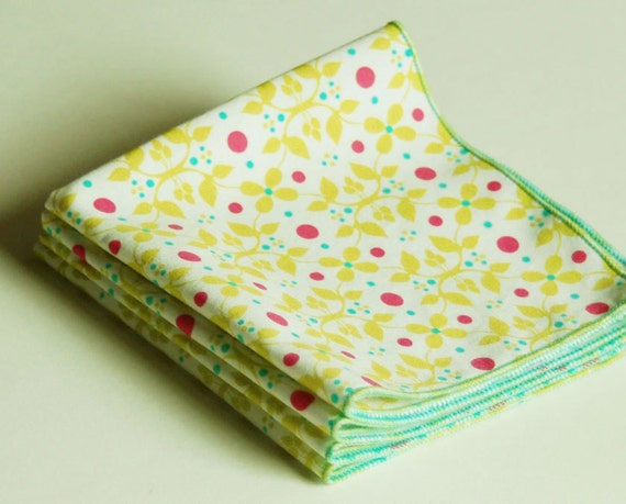 Set of 4 Cocktail Napkins in Lime Green and Pink Organic Cotton
