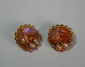 Vintage Amber Leaf Earrings