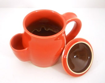 Mug, Tea Drinkers Sidekick, Red with Brown Cup With Lid