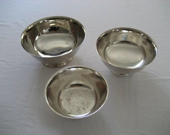 instant collection of three vintage engraved silver plated trophy bowls