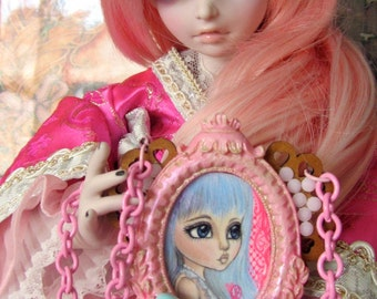Lolita Blue and her Lickable Lollipops-Hand Painted Original Art Heart Pendant Necklace with Candy Charms