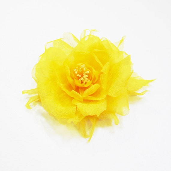 Couture Pure Silk Yellow White Flower Hair Clip Wedding Bridal Bridesmaids Prom Special Event or Everyday Accessory