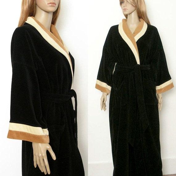 1980s Dior Robe / 80s Black Colorblock Velour Robe / One Size