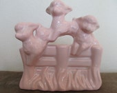 RESERVED for Leslie.... Vintage Pink Ceramic Lambykins Planter by Haeger Pottery, Made in USA