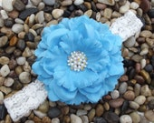 Large Turquoise Blue Silk Peony Flower Headband - Baby - Newborn - Infant - Toddler - Girl - Photo Prop