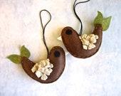 Woodland Bird Ornament. Brown and Ecru. 1 handmade Bird Decor. Bord Ornaments. Whimsical Gift.