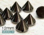 100pcs 12mm GUNMETAL Acrylic Cone Spikes Beads decorative item Charms Pendants with hole