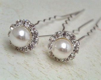 6 pcs pearl and rhinestone hair pin finding for decorate hair bridal wedding