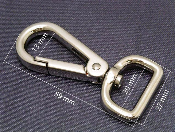 2 pcs 27x59 mm SILVER Trigger Snap Hook Lobster Swivel Clasps For Bag, Purse