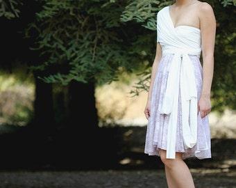 Dusty Lavender Lace- Octopus Convertible-Short Wrap Dress