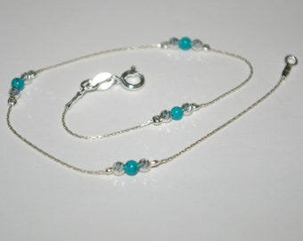 Sterling Silver 925 Chain, Laser Cut & Green Turquoise Beads ANKLET - Handcrafted - Custom made to your size - Free Shipping Worldwide