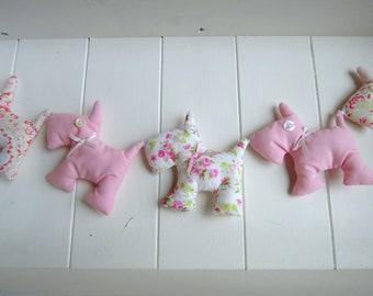 Cute Cath Kidston/ Pink/Floral Scottie Dog Garland