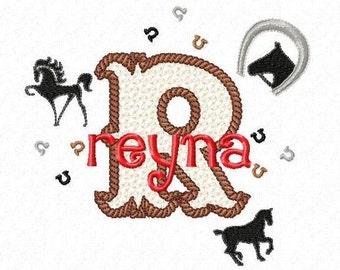 Equestrian Monogram Font Alphabet - Machine Embroidery Designs