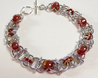 CLEARANCE, Red and Gold Color Chainmail Bracelet, Helm Chain Mail Bracelet, Chainmaille Jewelry