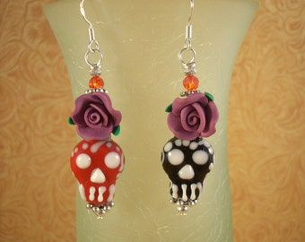 Earrings -  Day of the Dead Lampwork Sugar Skulls with Polymer Roses and Crystal