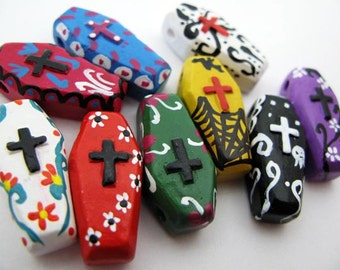 10 Large Day of the Dead Coffin Beads - coffin, skeleton, peruvian, ceramic, dia de los muertos -  LG624