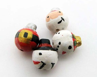 4 Tiny Christmas Ornament Beads - Santa and snowman