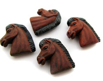 10 Large Brown Horse Head Beads - LG90