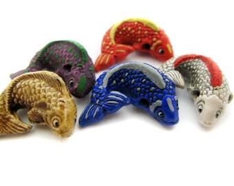 4 Large Ceramic Koi Beads - color mix - LG235