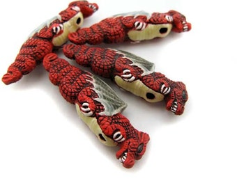 4 Large Red Dragon Beads - ceramic bead, hand painted, peruvian, dragon beads, large hole, hemp - CB596