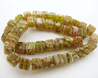 Yellow with White and Red Millefiori Cube Beads - CG063