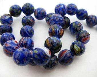 Medium Blue with Red Round Millefiori Beads - CG245