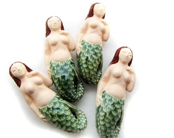 4 LargeRed Head Mermaid Beads - ceramic beads, fairytale beads, peruvian beads - LG614