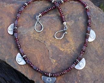 Silver garnet  necklace , oxidised silver, hand cut gemstones