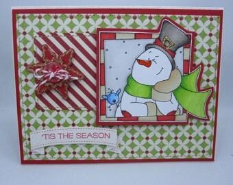 Tis the Season Snowman - Blank NoteCard, Greetings Card, Handmade Card