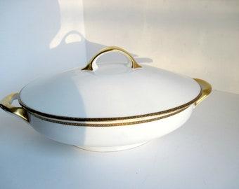OHME German Porcelain Oval Covered Dish , Vintage