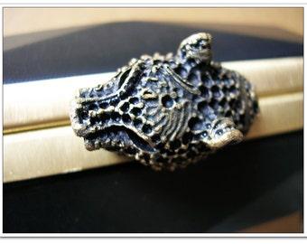 15 x 9cm (6 x 3inch) Octagon Dressing case Leopard-bead metal purse frame antique brass