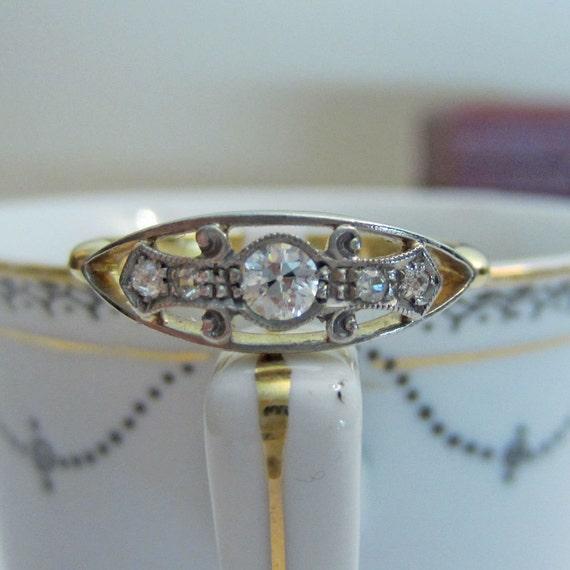 RESERVED. Deco Diamond Ring. Old European Cut Diamond. Circa 1920s.