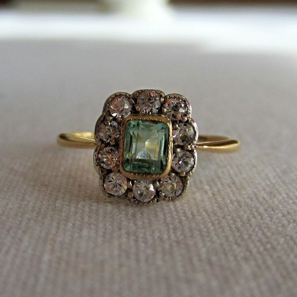 Reserved Antique Emerald And Diamond Halo Ring Early 1900s