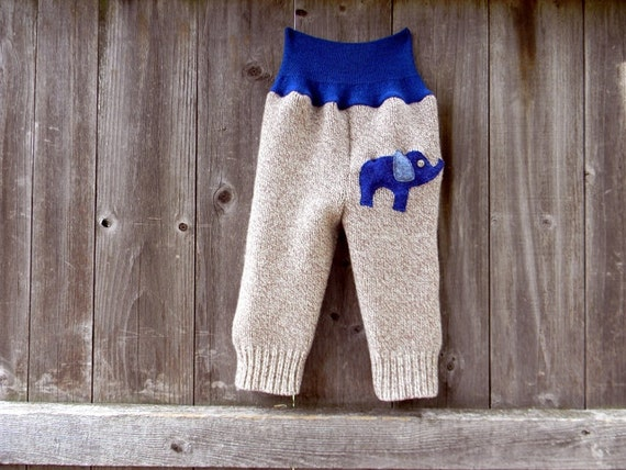 Upcycled Wool Longies Soaker Cover Diaper Cover Oatmeal/Blue With Elephant Applique MEDIUM 6-12M  Kidsgogreen