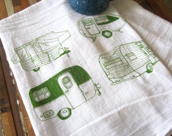 Tea Towel - Screen Printed Flour Sack Towel - Absorbent Kitchen Towel - Vintage Campers - Camping - Classic Flour Sack Towel - Eco Friendly